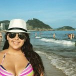 amateur photo Busty brunette babe at beach in Brazil