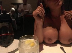 "amateur photo ""BOOBS, PARTY OF 2, YOUR TABLE IS READY"""