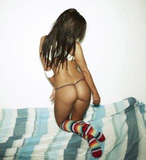 amateur photo Rainbow striped socks