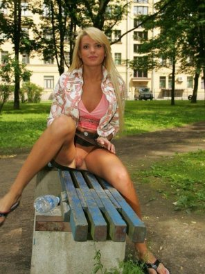 amateur photo Blonde in the park