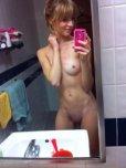 amateur photo Petite Bathroom Selfie with Bangs