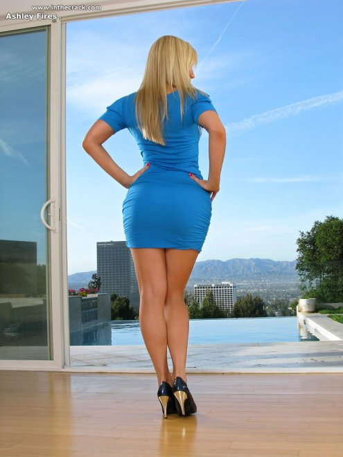 Ashley Fires in a tight blue dress Porn Photo