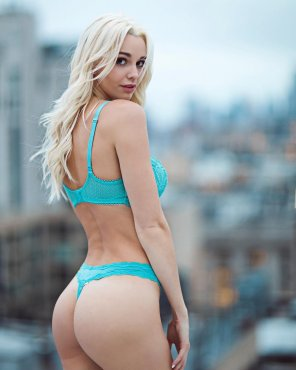 amateur photo Teal Bra and Thong