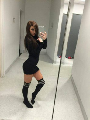 amateur photo Socks, Short Skirt and that Look