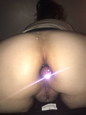 amateur photo [F] Do you want my pussy or my asshole? If my ass, pull the pretty plug out!