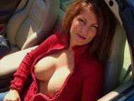 amateur photo Redheaded MILF with great boobs