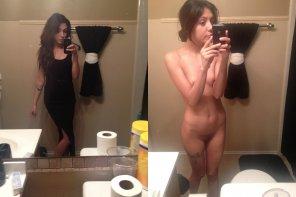 amateur photo On/Off Black dress brunette
