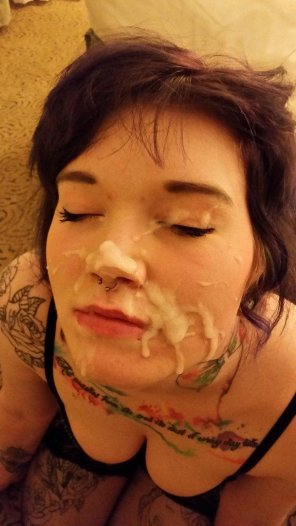 amateur photo Enjoying her double facial