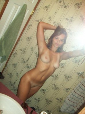 amateur photo Showing it off in the bathroom