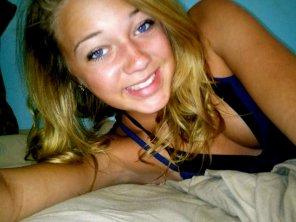 amateur photo Blue eyed selfie.