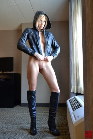amateur photo Leather jacket and boots and nothing else