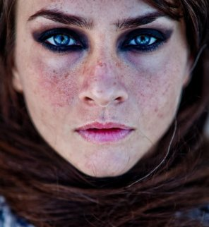 amateur photo Beautiful blue eyes freckled redhead