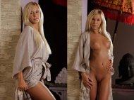 Tan girl in a robe