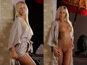 amateur photo Tan girl in a robe