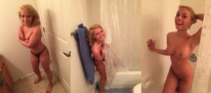 amateur photo Shy cutie getting in the shower