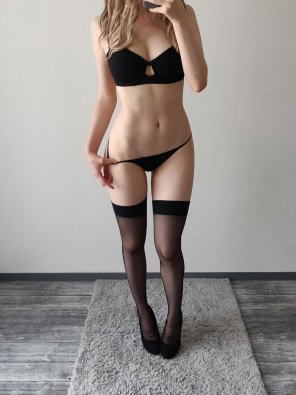 amateur photo Who's a fan of black lingerie and heels?