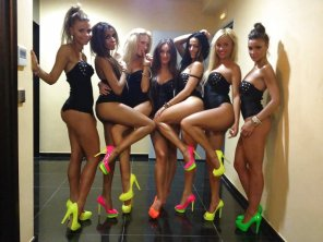 amateur photo Full of neon heels