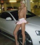amateur photo Skinny blonde in parking garage