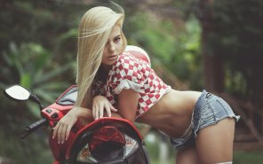 amateur photo Blonde in a Checkered Shirt