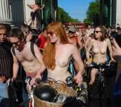 Ginger at the London World Naked Bike Ride