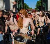 Ginger at the London World Naked Bike Ride