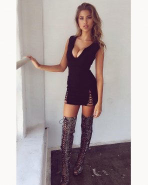 amateur photo Criss Cross Thigh High Boots