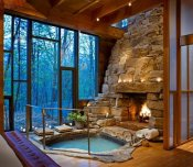 Indoor Fireplace and a Hot Bath