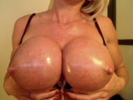 Big oiled tits blonde
