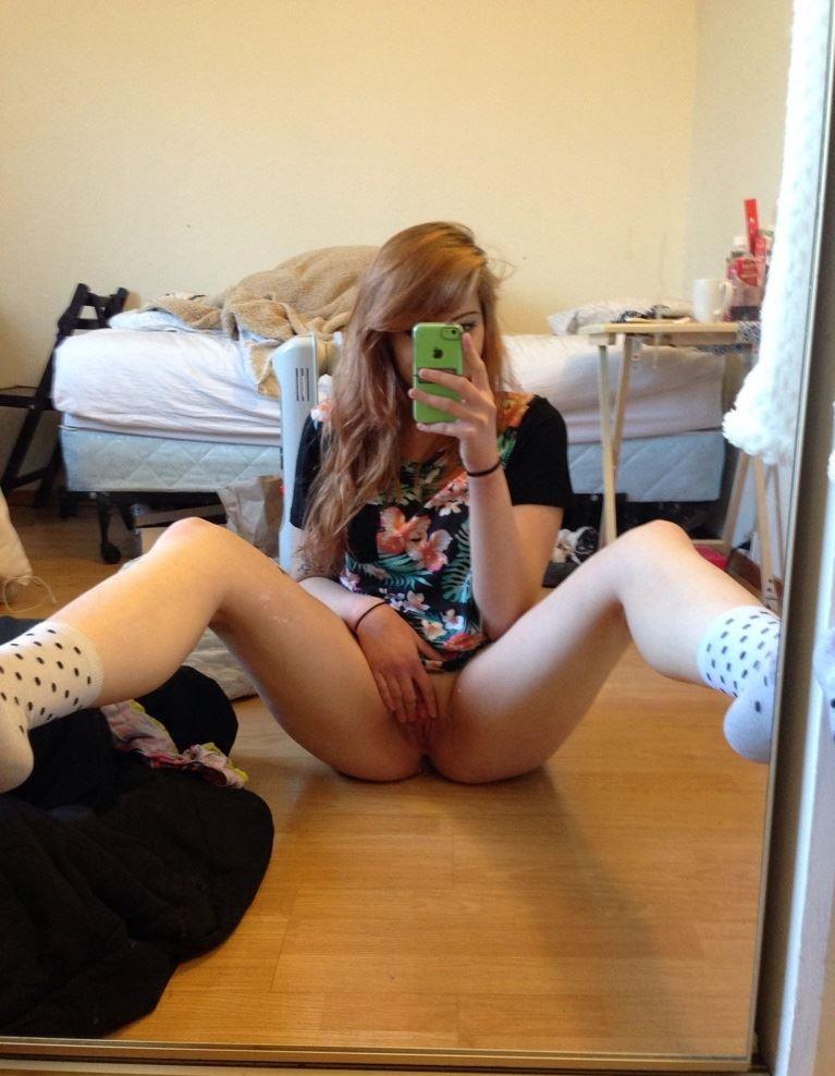 Open legs selfshot teen