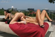 Alyssa Reece & Sophia Santi licking pussy on the terrace