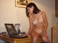 Checking her laptop