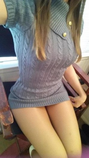 amateur photo Tight sweater dress