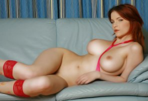 amateur photo Redhead in knee-highs