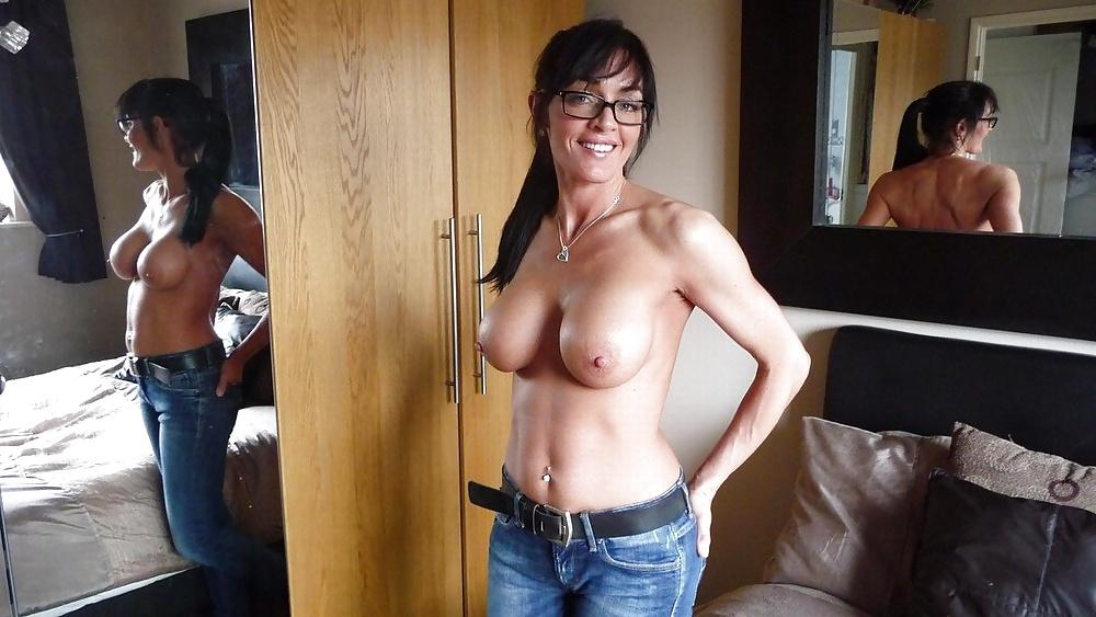 Women in jeans blue busty topless