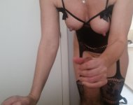 Getting a handjob from my slut wife in a hot outfit