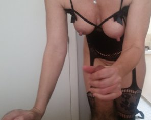 amateur photo Getting a handjob from my slut wife in a hot outfit