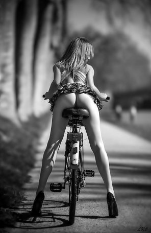 amateur photo A girl and a bike