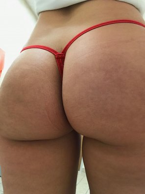 amateur photo [F] Thong of The Day, Today I have on a red lace micro thong 😍🎀 enjoy!!!