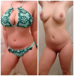 amateur photo I bought this bikini without realizing it's all boobs in your face. What do you think about it? First full on/o[f]f.