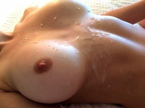 amateur photo A Boob-Load Of Cum