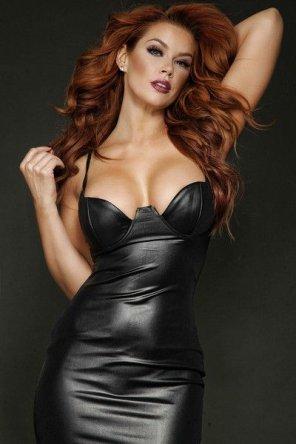 amateur photo Leather dress