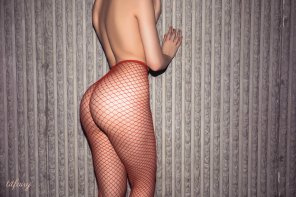 amateur photo Red fishnet stockings
