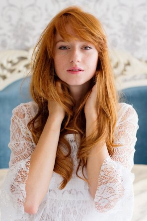 amateur photo Redhead in lace