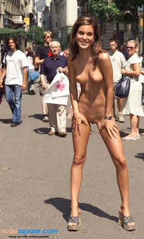 amateur photo Nude Teen Exhibitionist Standing on a Crowded Public Street