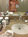 amateur photo Tanlines and the bathroom sink