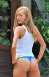 amateur photo Blue thong pulled tight