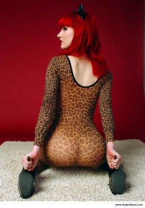 amateur photo Angela Ryan in leopard print.