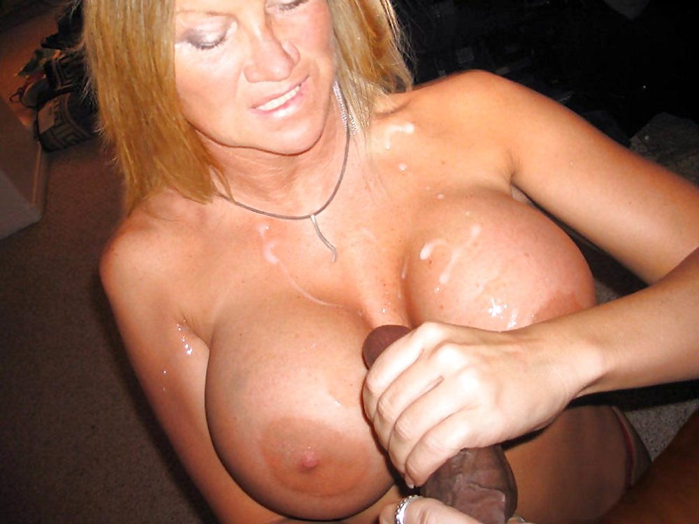 Cumming on milf m tits