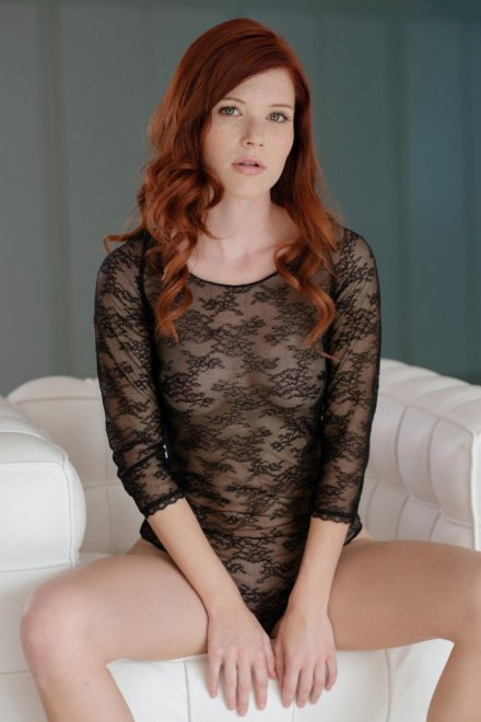 Natural redhead Mia Sollis strips naked on a blanket in backyard  1797199