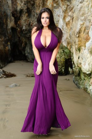 amateur photo Wendy Fiore in a gorgeous purple dress